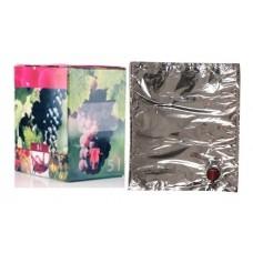 BAG IN BOX 5L za vino 5 kos (vrečka v. vog. + karton rdeč)